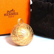 Auth HERMES Bijouterie Fantaisie Zodiac Necklace Pendant Top Goldtone in Box