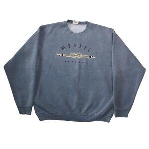 Bumwraps Heavyweight Sweatshirt Size Large Blue Grey Mystic Seaport CT Top