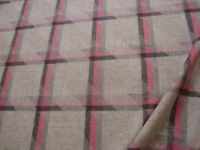 One yd CAMIRA WOOL FABRIC Landscape Balance 18 oz Coat Upholstery Gray Pink BTY