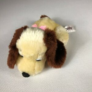 """Russ Dooby Puppy Dog Plush VTG 70s Stuffed Animal Small 8"""" Pink Bow Firm Beans"""