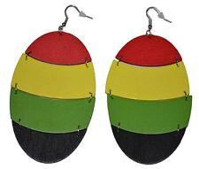 """Women's Rasta Dangling Hoop Wooden Earrings with Silvertone 3.75"""" Long Oval"""
