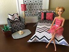 Handmade Barbie Doll Bedroom Furniture Bed/Bedding Set/Sofa/Lamp/Blanket-Pillows