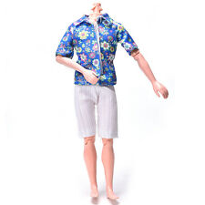 Flowery Shirt Suit for Ken Doll  Cloth White Short Pants Fashion Suit GT