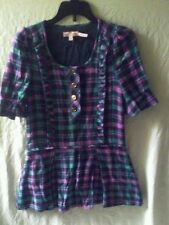 Juicy Couture Kids Girls Size 8 Plaid Button Up Top Blouse