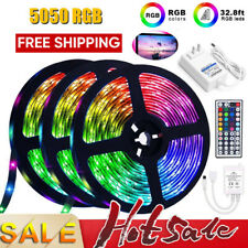 32.8 Feet RGB 5050 Flexible Led Strip Lights SMD 44 Key Remote DC 12V Power Kit