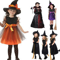 Girls Fancy Party Cosplay Costume Dress Witch Vampire Halloween Kids Outfit