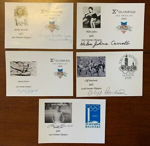 Lot of Five Summer Olympics Signed Photos 1932 1948 1952