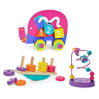 3 in 1 Wooden Educational Activity Toy Gift Set Animal & Bead Maze Baby Present