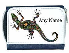 Personalised Denim Purse With Colourful GECKO/LIZARD