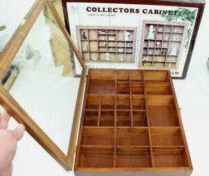 Vintage SMC Collectors Curio Cabinet Thimbles/Figurines Glass Door Wall Handing