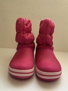 CROCS Girls Rain Boots Size J2 2 Youth Comfy Soft Pink Waterproof