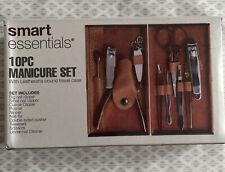New Smart Essentials 10 Piece Manicure Set With Leatherette Bound Travel Case