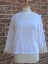 Vintage 1960s Top Shirt White Cotton Blouse Accordion Pleat Ruffle Button Back S