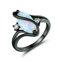 925 Silver White Fire Opal CZ Ring Black Gold Filled Jewelry Wedding Band #6-10