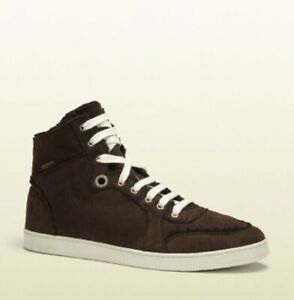 Gucci Men's Cocoa Brown Suede Shearling High-Top Sneaker w/Web 309408 2140
