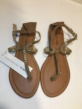 Everything But Water Sandals T-Strap Tan With Gold Embellishments