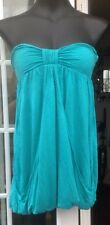 MISS SELFRIDGE TURQUOISE STRAPLESS LAYERED FRONT TOP - SIZE 8