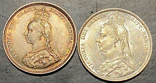 More details for 1888, 1889 silver shillings, uncirculated and lustrous, one toned