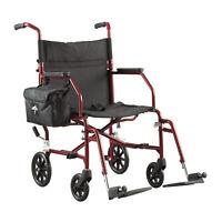 "Medline Steel Transport Chair with 19""W x 16""D Seat, Burgundy - MDS808200W"