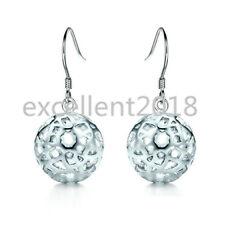 Women 925 Sterling Silver Hollow Flower Pattern Ball Christmas Hook Earrings