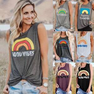 Womens Loose Sleeveless Rainbow Good Vibes T-shirt Casual Vest Tops Blouse Tank