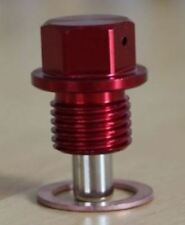 Red Magnetic Oil Sump Plug with M14 x 1.5 thread and crush washer