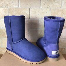 UGG Australia Classic Short Blue Suede Sheepskin Boots Size 5 Womens