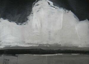 JOSE TRUJILLO Acrylic Painting 11x15 Black & White Monochrome Clouds Art (26/30)