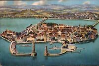 Vintage Postcard, Lindau Lighthouse and ships, aerial view, Germany, pb1