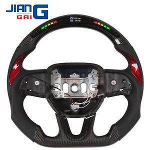 LED Carbon Fiber  racing steering wheel for 2015+ Dodge challenger charger SRT
