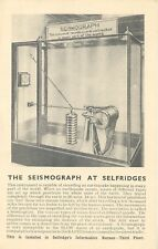 GB 1920 mint advertising postcard The SEISMOGRAPH at SELFRIDGE's, 400 Oxford St