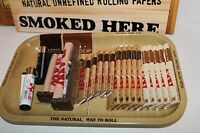 SUPER RAW ROLLING PAPER  COMBO TRAY+PAPERS+ 2 ROLLING MACHINE+Lighters