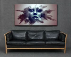 Womans Face In Smoke Abstract Fantasy Print Canvas Large Art Grey Lady Unusual