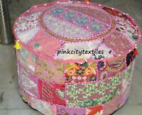 Pink Indian Floor Pouf Ottoman Cover pouffe pouffe Foot Stool Moroccan Patchwork