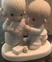 "PRECIOUS MOMENTS ""HEALER OF BROKEN HEARTS"" 100080 GIRL BOY FIGURINE BOX"