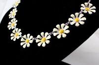 Pretty silver tone white daisy chain necklace