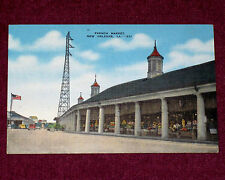 1930-1945 Vtg Postcard Linen French Market Building New Orleans LA Old Cars