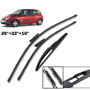 """26""""22""""10"""" Windshield Wiper Blades Fit For Renault Scenic 2 Grand 2005 2006-2009"""