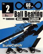 SURE CATCH Moschettoni  Black Ball Bearing Coast Lock Swivel Solid Ring - Size 2