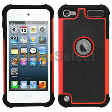 NEW Hybrid Rugged Rubber Hard Case for Apple iPod Touch 5 5th Gen Red 100+SOLD
