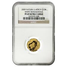 2009 1/10 oz Proof Gold South Africa Natura White Rhinoceros NGC PF 69 UCAM