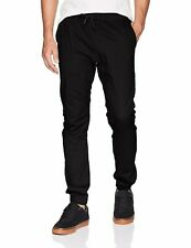 WT02 Men's Jogger Pants in Basic Solid Colors and Stretch Twill , Black Small