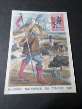 FRANCE 1962 CARTE  MAXIMUM, CM FDC 1° JOUR JOURNEE TIMBRE MESSAGER ROYAL
