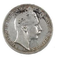 Pièce Argent Allemagne 3 Mark Guillaume II Prusse Année 1909 Germany Silver Coin