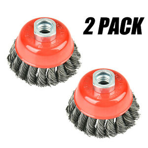 """2pcs Pro 6/"""" Knot Cup Wire Twist Brush with M14 Thread for Angle Grinder"""