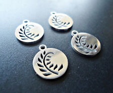 Small Stainless Steel Laser Cut Charms - Fern Leaves - Set of 5