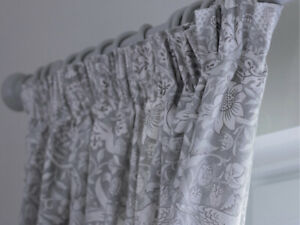 William Morris Strawberry Thief Fully Lined Curtains & Tie Backs In Neutral