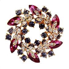 diamante BRILLANT Purple & rose cercle COURONNE PIERRES DE STRASS Broche
