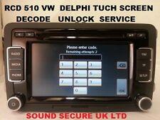 VW  DELPHI RCD510 RCD-510  RADIO MP3 PLAYER TUCH SCREEN DECODE UNLOCK SERVICE