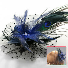 lady fascinator feather crystal flower lace peacock hair clip brooch accessory